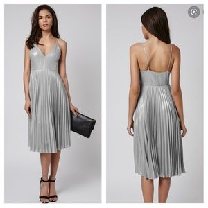 NWT Topshop | Plunge Pleated Midi Dress Silver